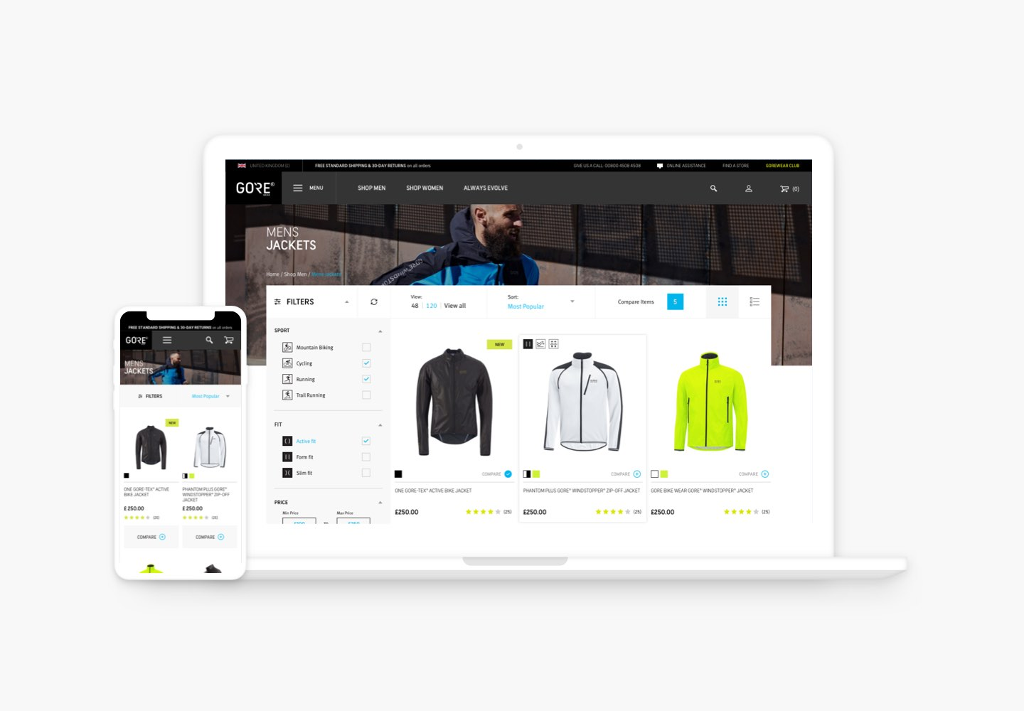 Gorewear Product Listing Page